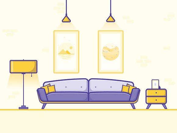 Living Room Illustration in Illustrations
