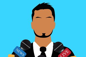 interview, speech, news, vector