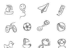 toys, sketch, icons, vector