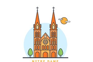 Norte Damne Church Illustration