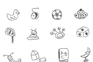 toys, sketch, kids