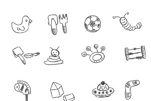 sketch, set, icons, vector