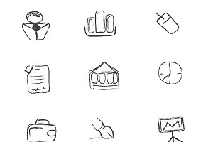 icons, business, sketch