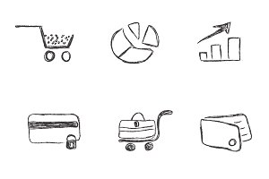 business, icon, sketch, set