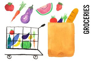 Groceries Watercolor Clipart