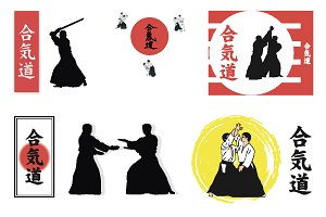 Vector set, illustrations Aikido.