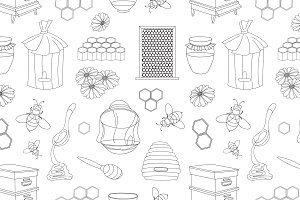 doodle pattern of apiary