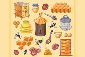 doodle vector set of apiary