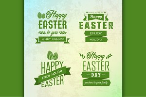 Happy Easter labels set