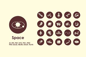 Space simple icons
