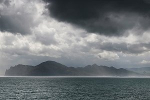 Crimean coast with stormy clouds