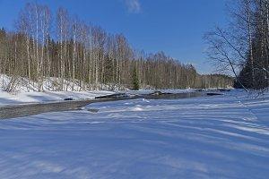 Unfrozen river in late winter