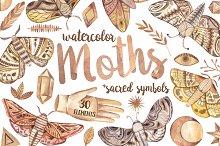 Watercolor moths and sacred symbols