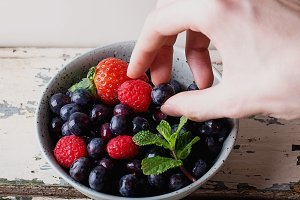 Berries in spotted bowl