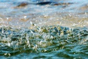 Water falling into fountain
