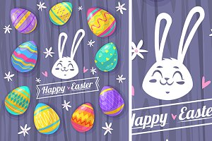 Happy Easter label and eggs