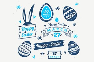 Happy Easter label set