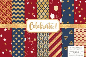 Americana Gold Foil Digital Papers