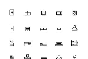 25 Outline Furniture Icons