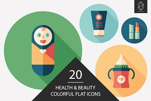 Health and beauty flat icon set