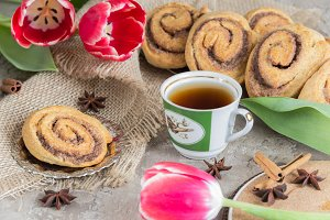 Rolls puff pastry with cinnamon
