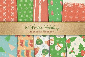 1st Winter Holiday Seamless Pattern