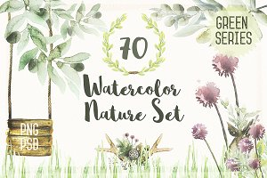 Watercolor Nature Set