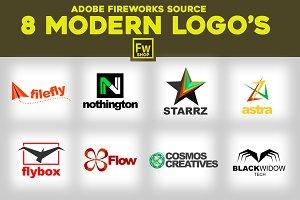 8 Modern Logo's. Adobe Fireworks PNG