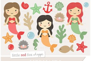 Mermaid Digital Clipart Graphics