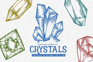 Crystals hand drawn graphic set