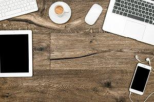 Office desk digital gadgets