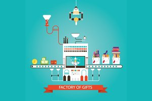 Vector illustration of gifts factory