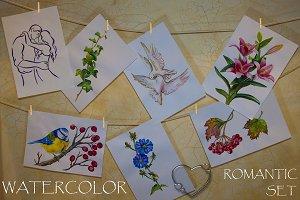 Watercolor Romantic Set of 16pcs