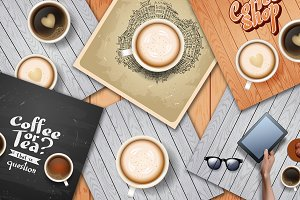 Coffee background set