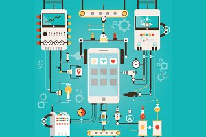Illustration of smart phones factory