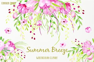 Watercolor Clipart Summer Breeze