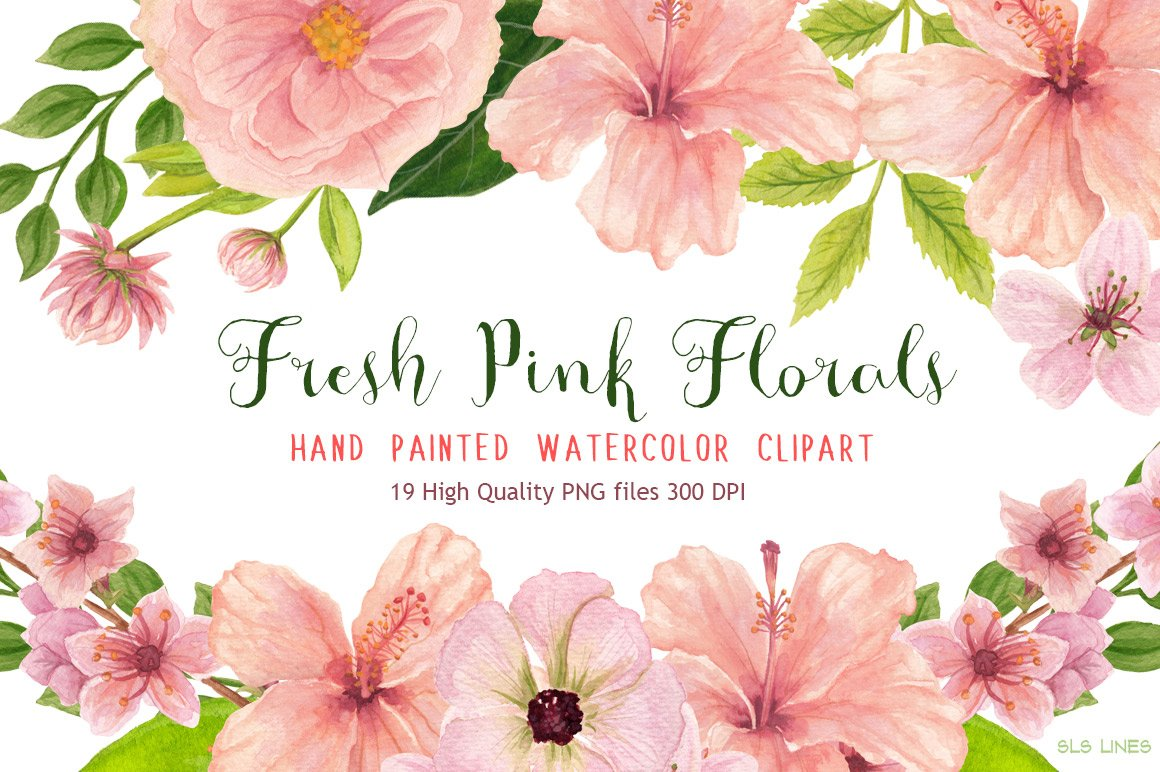 Pink floral watercolors illustrations creative market mightylinksfo