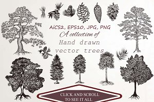 Big set of detailed vector trees