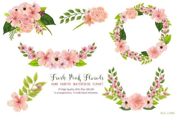 Pink Floral Watercolors Illustrations Creative Market