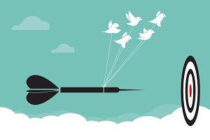 Birds with darts target aim