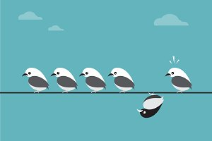 Vector image of birds group