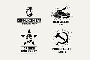 Stickers set of the communist logos