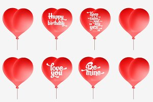 Vector red heart-shaped balloons