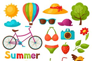 Set of stylized summer objects.