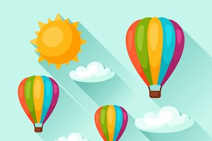 Backgrounds with hot air balloons.