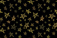 Golden hand-drawn stars on black
