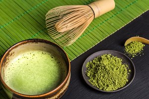 Still life with Japanese matcha tea