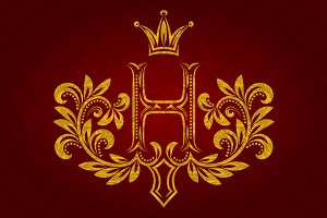 Patterned golden letter H monogram