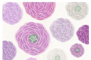 Watercolor flower purple clipart