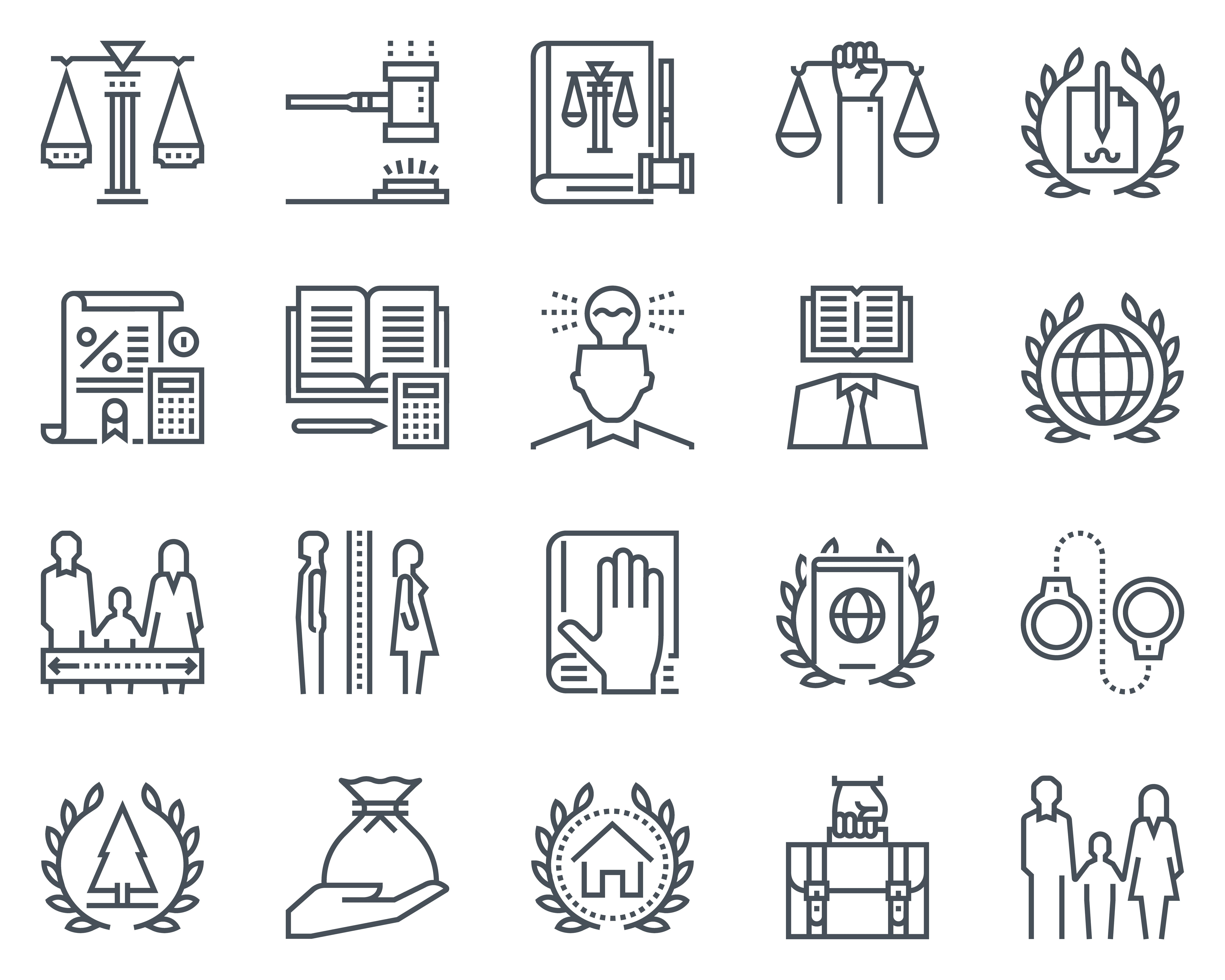Law and justice icon set ~ Icons ~ Creative Market